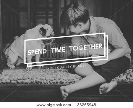 Pet Spend Time Together Concept