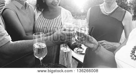 Group Diverse People Dinner Party Outdoors Concept