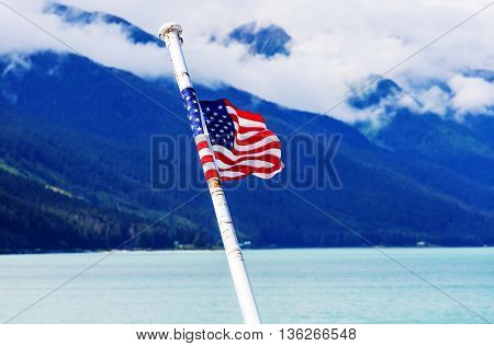 american flag on the boat, Alaska