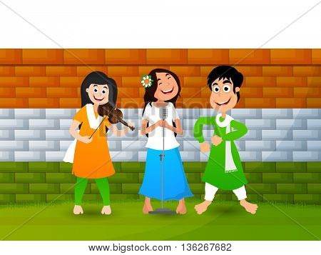 Cute girls singing, dancing and playing musical instrument on National Flag Color wall background, Concept for Indian Independence Day and Republic Day celebration.