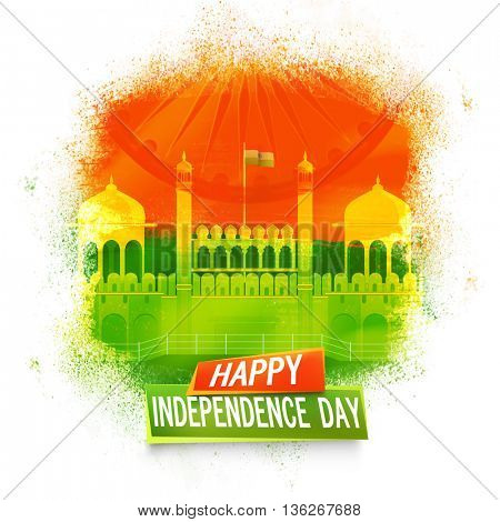 Creative illustration of Red Fort with Ashoka Wheel, Beautiful Indian National Flag colour background for Happy Independence Day celebration.