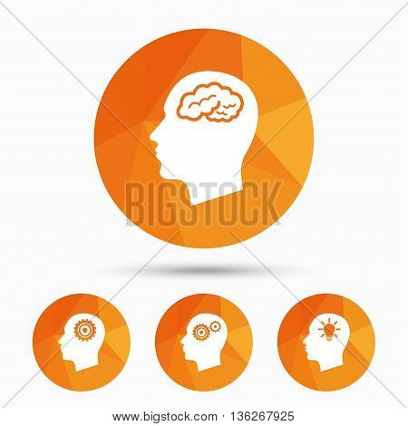 Head with brain and idea lamp bulb icons. Male human think symbols. Cogwheel gears signs. Triangular low poly buttons with shadow. Vector