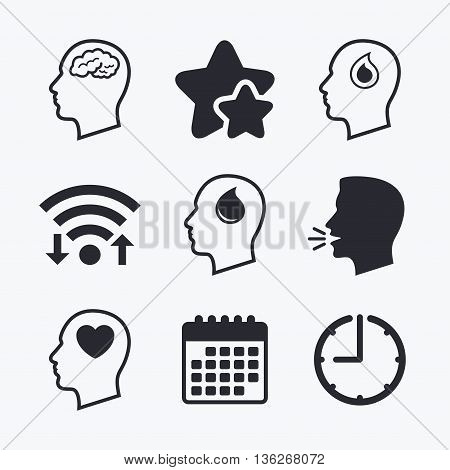 Head with brain icon. Male human think symbols. Blood drop donation sign. Love heart. Wifi internet, favorite stars, calendar and clock. Talking head. Vector