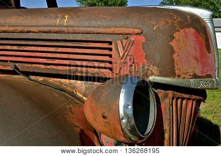 HILLSBORO, NORTH DAKOTA, June 15, 2016: The front and grill of the V8 Ford pickup is a product of the Ford Motor Company located in Dearborn, Michigan started by Henry Ford and incorporated on June 16, 1903.