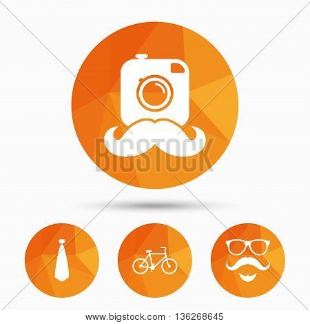 Hipster photo camera. Mustache with beard icon. Glasses and tie symbols. Bicycle family vehicle sign. Triangular low poly buttons with shadow. Vector