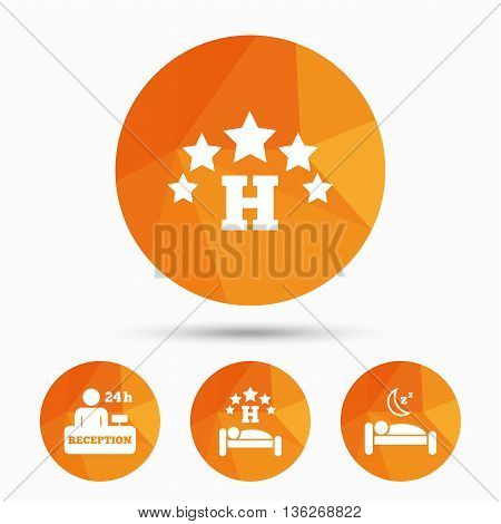 Five stars hotel icons. Travel rest place symbols. Human sleep in bed sign. Hotel 24 hours registration or reception. Triangular low poly buttons with shadow. Vector