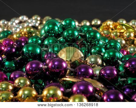 New Orleans' Mardi Gras Beads, Isolated And Macro