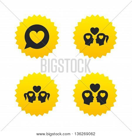 Couple love icon. Lesbian and Gay lovers signs. Romantic homosexual relationships. Speech bubble with heart symbol. Yellow stars labels with flat icons. Vector