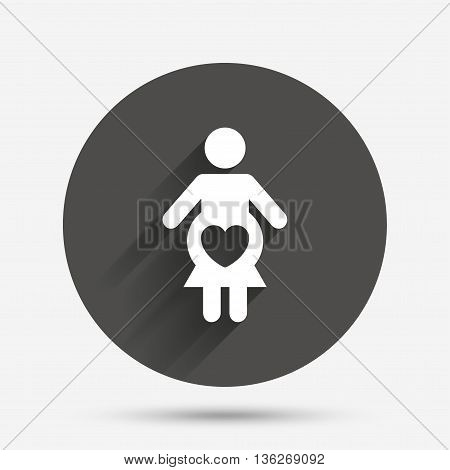 Pregnant sign icon. Women Pregnancy symbol. Circle flat button with shadow. Vector