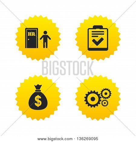 Human resources icons. Checklist document sign. Money bag and gear symbols. Man at the door. Yellow stars labels with flat icons. Vector