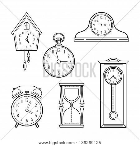 Different kinds of watches. Linear icons, objects. Vector illustration