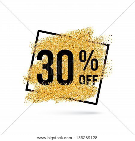 Gold Discount Background for Sale Sign with Thirty Percent