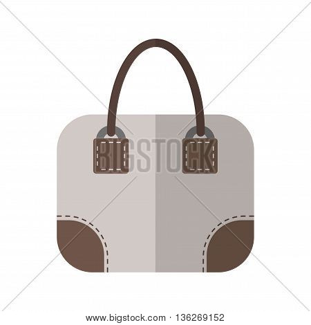 Hand bag isolated. Color flat icon and object. Fashion accessory. Vecor
