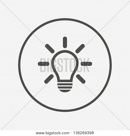 Light lamp sign icon. Idea symbol. Flat lamp icon. Simple design lamp symbol. Lamp graphic element. Round button with flat lamp icon. Vector