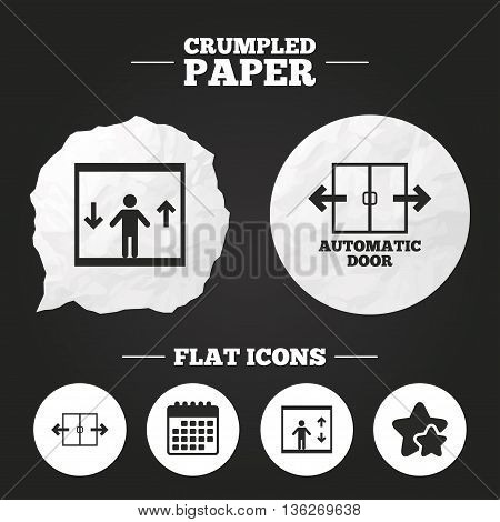 Crumpled paper speech bubble. Automatic door icons. Elevator symbols. Auto open. Person symbol with up and down arrows. Paper button. Vector
