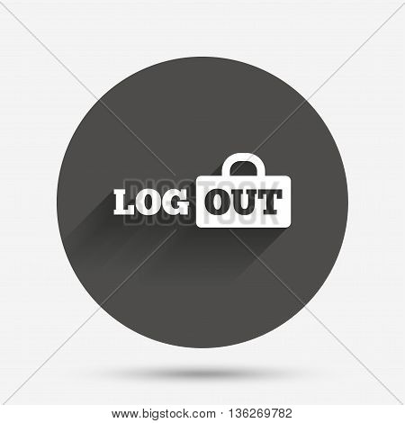 Logout sign icon. Sign out symbol. Lock icon. Circle flat button with shadow. Vector