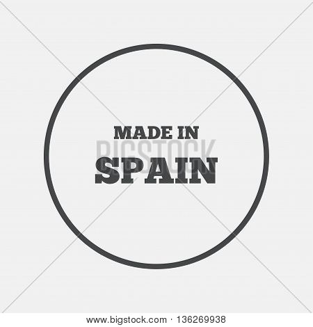 Made in Spain icon. Export production symbol. Product created sign. Round button with flat icon. Vector
