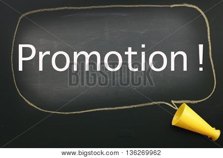 megaphone and speech bubble with text promotion