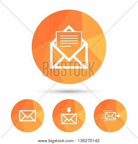 Mail envelope icons. Message document delivery symbol. Post office letter signs. Inbox and outbox message icons. Triangular low poly buttons with shadow. Vector