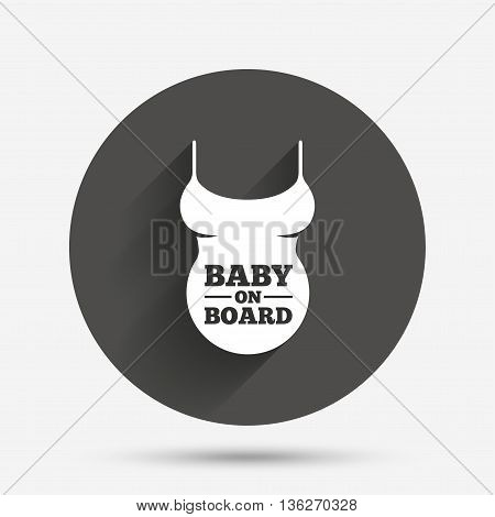 Pregnant woman shirt sign icon. Baby on board. Maternity symbol Circle flat button with shadow. Vector