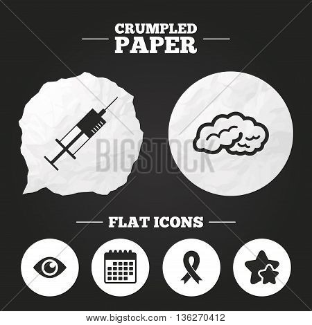 Crumpled paper speech bubble. Medicine icons. Syringe, eye, brain and ribbon signs. Breast cancer awareness symbol. Human intelligent smart mind. Paper button. Vector