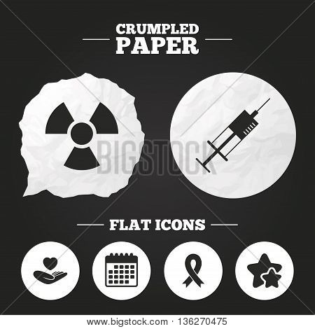Crumpled paper speech bubble. Medicine icons. Syringe, life insurance, radiation and ribbon signs. Breast cancer awareness symbol. Hand holds heart. Paper button. Vector