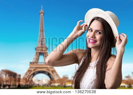 Young brunette girl in Paris, France