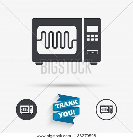 Microwave oven sign icon. Kitchen electric stove symbol. Flat icons. Buttons with icons. Thank you ribbon. Vector