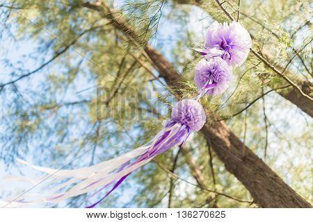 wedding decorations and arrangement flowers ribbon. selective focus.
