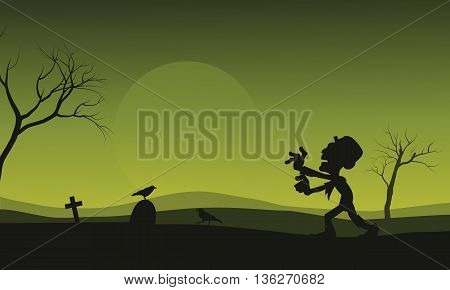 Silhouette of Halloween zombie and crow scary illustration