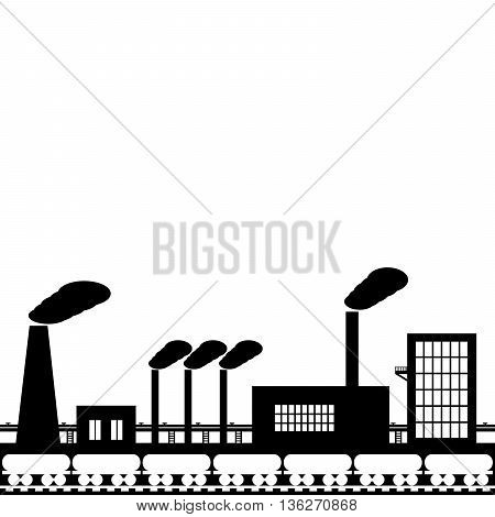The powerful iron and steel industry of black color on a white background.