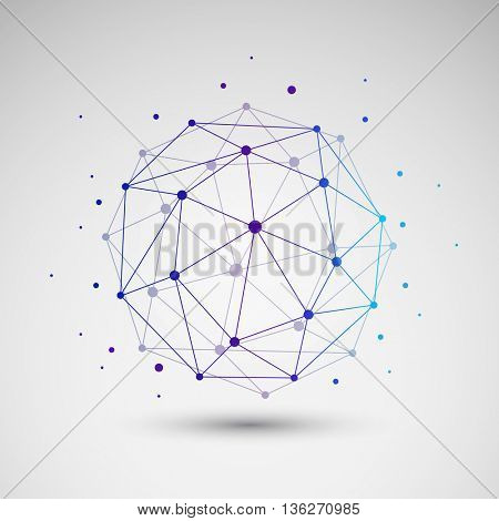 Colorful Minimal Cloud Computing, Digital Networks Structure, Telecommunications Concept Design, Modern Style Global Network Connections, Transparent Geometric Globe Wireframe - Vector Illustration