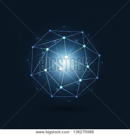 Minimal Cloud Computing, Digital Networks Structure, Telecommunications Concept Design, Modern Style Global Network Connections, Transparent Geometric Globe Wireframe - Vector Illustration