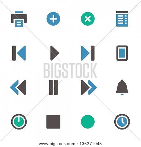 Media player web icons set. Mobile screen symbols.