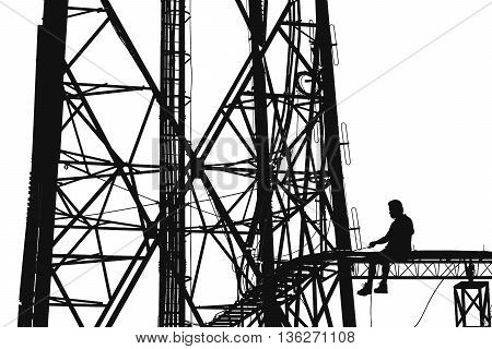 Silhouette, high voltage tower, telecommunication tower, TV antennas with worker repairing, maintenance, isolated on white background