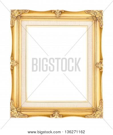 Empty Bright Gold Gilded Wood With Inner Canvas Vintage Frame On White Background