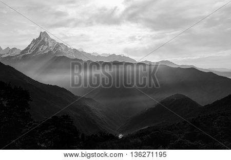 View of the himalayan peak the 6993 ms. mount Machhapuchhare-Fish Tail Nepal. Black and White.