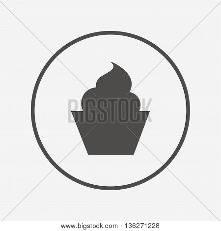 Muffin sign icon. Cupcake symbol. Flat muffin icon. Simple design muffin symbol. Muffin graphic element. Round button with flat muffin icon. Vector