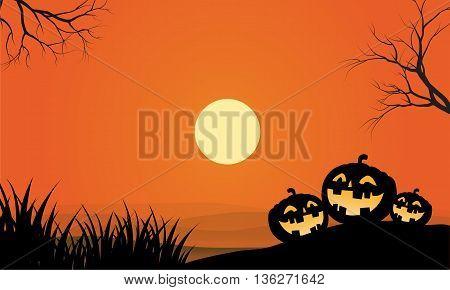 pumpkins and fullmoon halloween orange backgrounds vector design