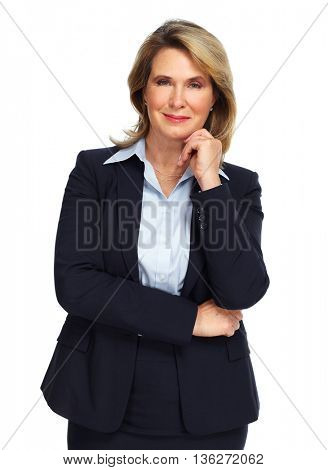Senior business woman isolated on white background.