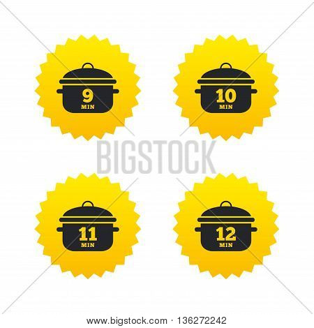 Cooking pan icons. Boil 9, 10, 11 and 12 minutes signs. Stew food symbol. Yellow stars labels with flat icons. Vector