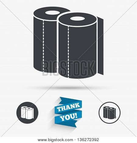 Paper towels sign icon. Kitchen roll symbol. Flat icons. Buttons with icons. Thank you ribbon. Vector