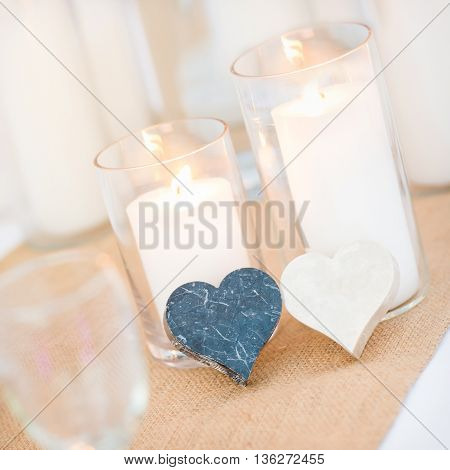 candles marble hearth shape setting for celebration on dinner table setup. wedding sweetness decorations and arrangement.