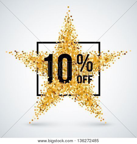 Golden Star and Frame with Discount Ten Percent for Design