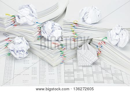 Bankruptcy Of House With Paper Ball On Pile Overload Paperwork