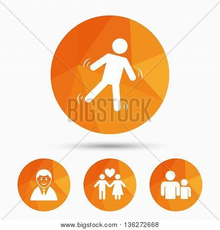 Businessman person icon. Group of people symbol. Man love Woman or Lovers sign. Caution slippery. Triangular low poly buttons with shadow. Vector