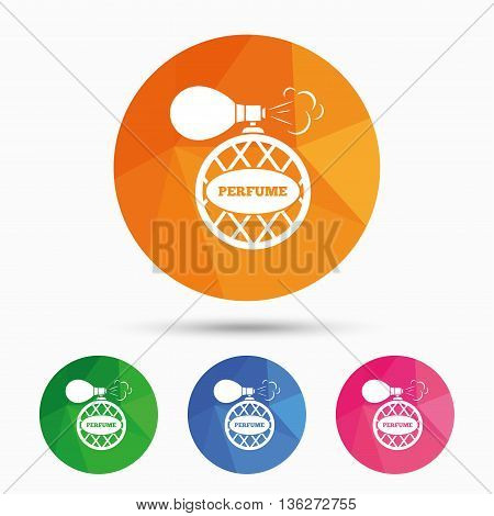 Perfume bottle sign icon. Glamour fragrance symbol. Triangular low poly button with flat icon. Vector