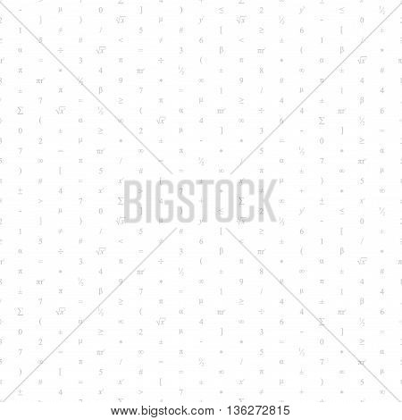 Vector Seamless Geometric White Background. Mathematical Pattern Of Light Grey Numbers, Symbols And