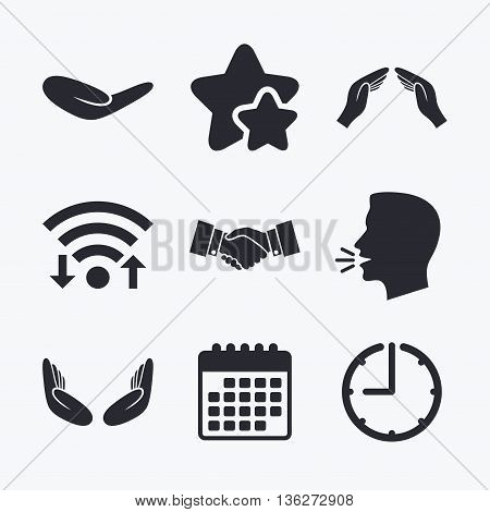 Hand icons. Handshake successful business symbol. Insurance protection sign. Human helping donation hand. Prayer meditation hands. Wifi internet, favorite stars, calendar and clock. Talking head. Vector