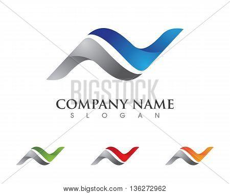 N letter logo, volume icon design template element